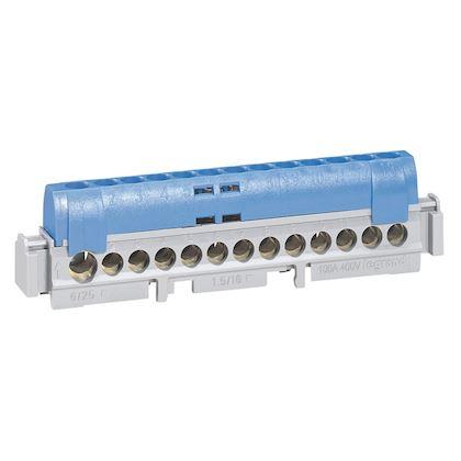 Bornier de répartition isolé IP2X neutre 1 connexion 6 à 25mm² - bleu - 113mm legrand 004844