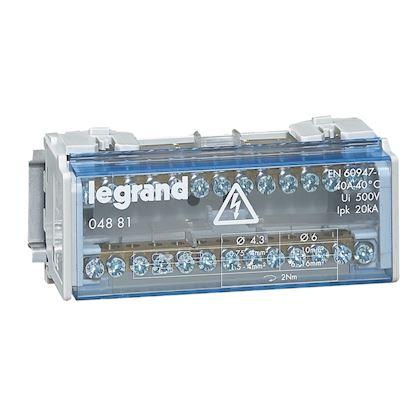 Répartiteur monobloc 2P à bornes 40A 13 connexions maxi/barreau legrand 004881