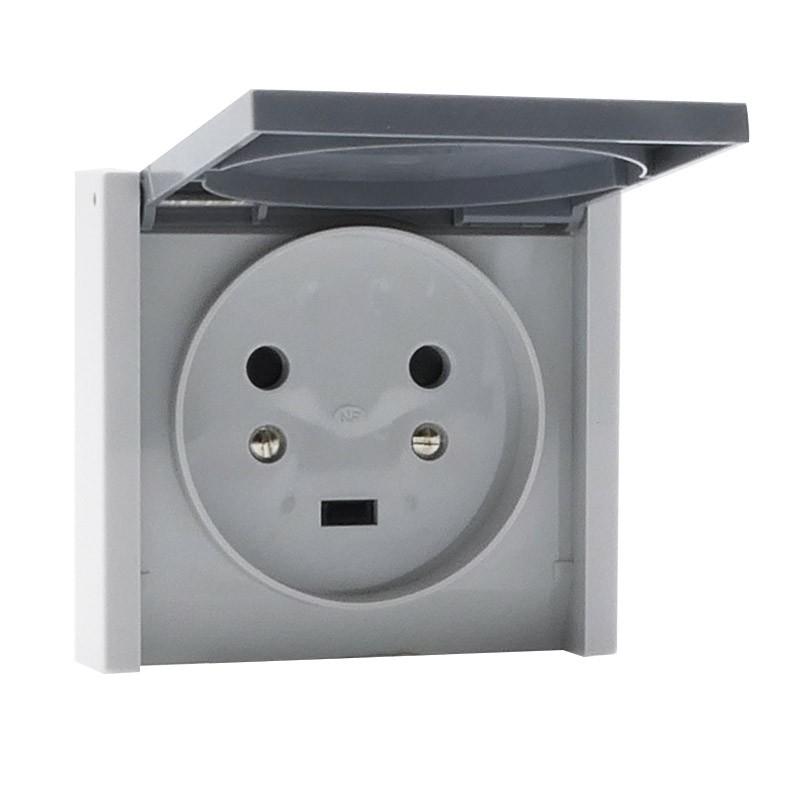 Prise de courant 2P+T 20A à fixer sur boîte Ø67mm ou cadre saillie Plexo complet IP44 encastré - gris - Réf : 055703