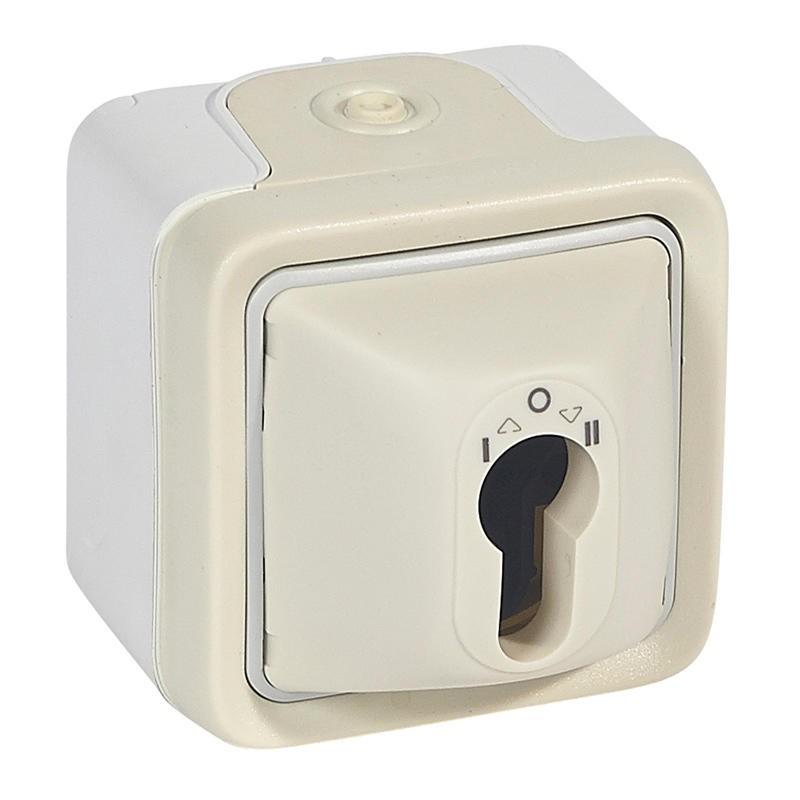 Legrand - Inter à clé Prog Plexo complet saillie blanc barillet européen - 10 A - 250 V - Réf : 069757