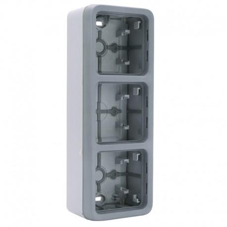 Legrand - Boîtier à embouts 3 postes verticaux Plexo composable IP55 - gris - Réf : 069679