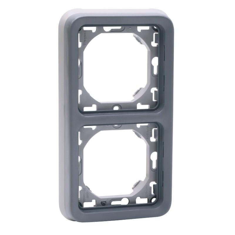 support-plaque-2-postes-verticaux-gris-plexo-legrand-069685