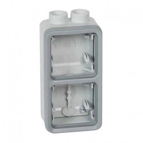Legrand - Boîtier plexo à presse-étoupe - gris - 2 postes verticaux - PG 16 - Réf : 069668