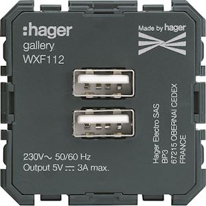 HAGER Chargeur double USB A+A gallery WXF112