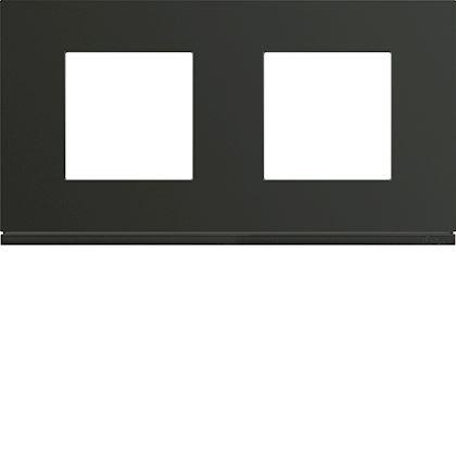 HAGER Plaque gallery plastique peint 2 postes horizontale 71mm night WXP0212