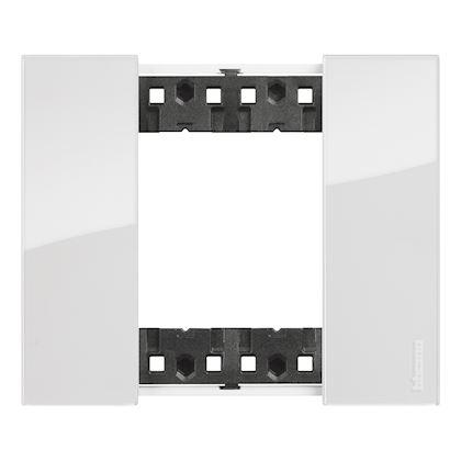 BTICINO Plaque de finition Living Now Collection Les Blancs 2 modules finition Glacier BTKA4802DW
