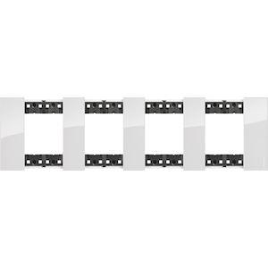 BTICINO Plaque de finition Living Now Collection Les Blancs 4x2 modules finition Glacier BTKA4802M4DW