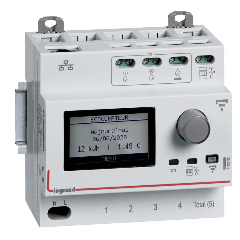 Ecocompteur modulaire connecté pour mesure consommation 5 postes - 5 modules