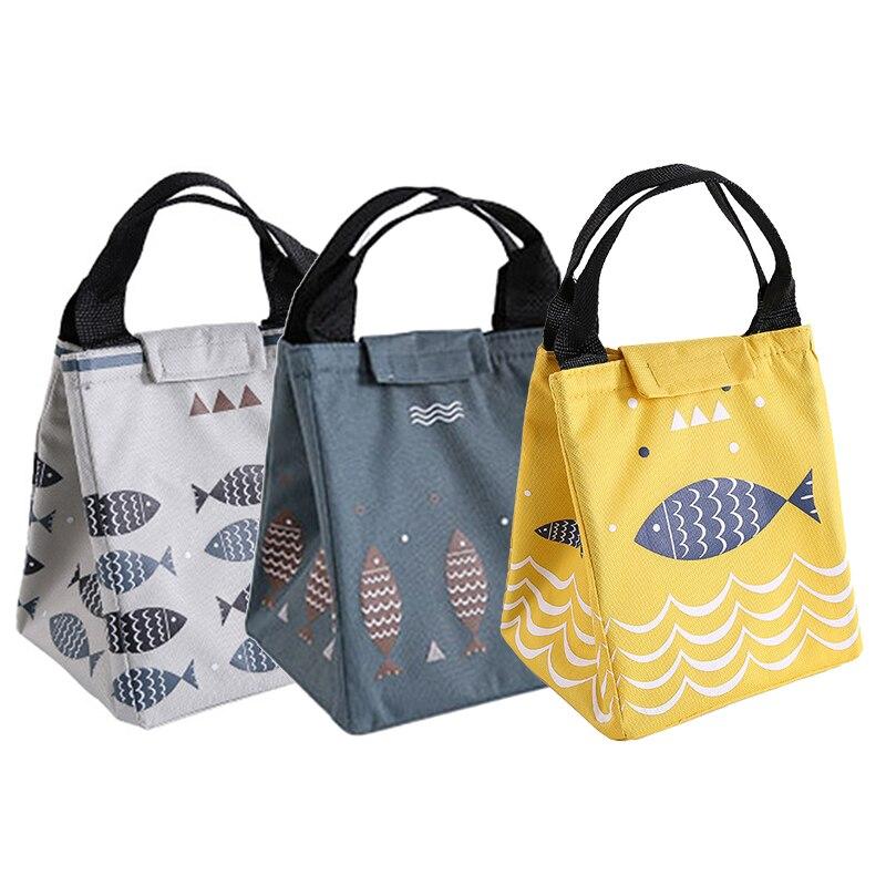 Sac-Lunch-r-utilisable-jaune-Fourre-tout-imperm-able-motif-de-poisson-fourre-tout-imprim-sacs