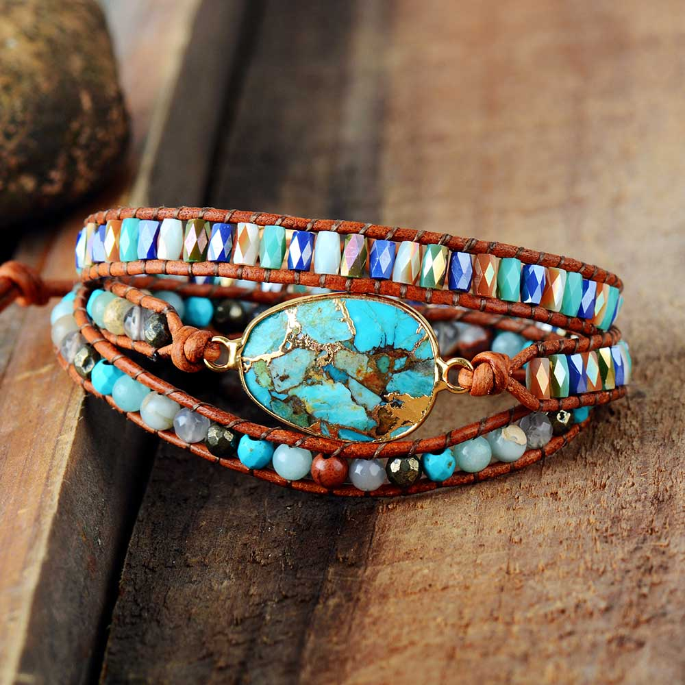 Bracelet BOHO pour femmes en pierres et cuir