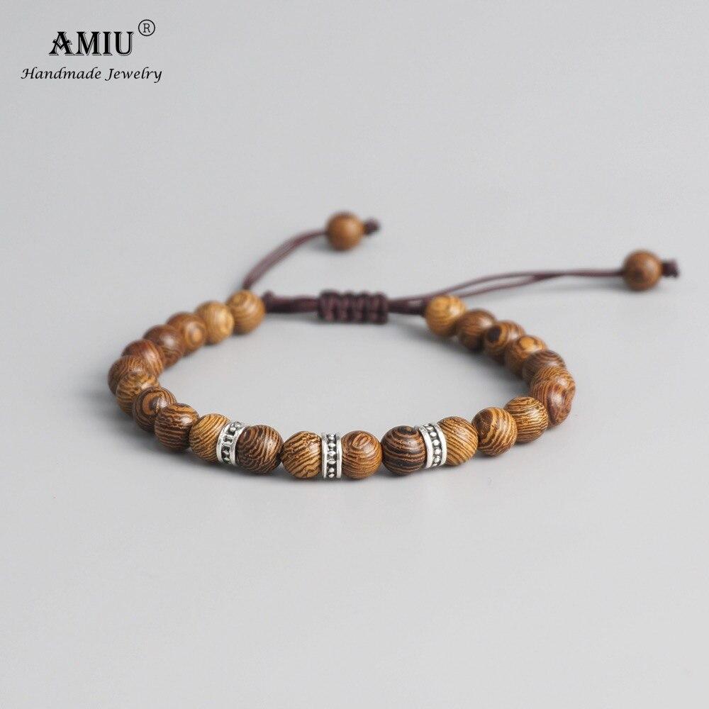 Bracelet bouddhiste tressé à la main avec perles de bois