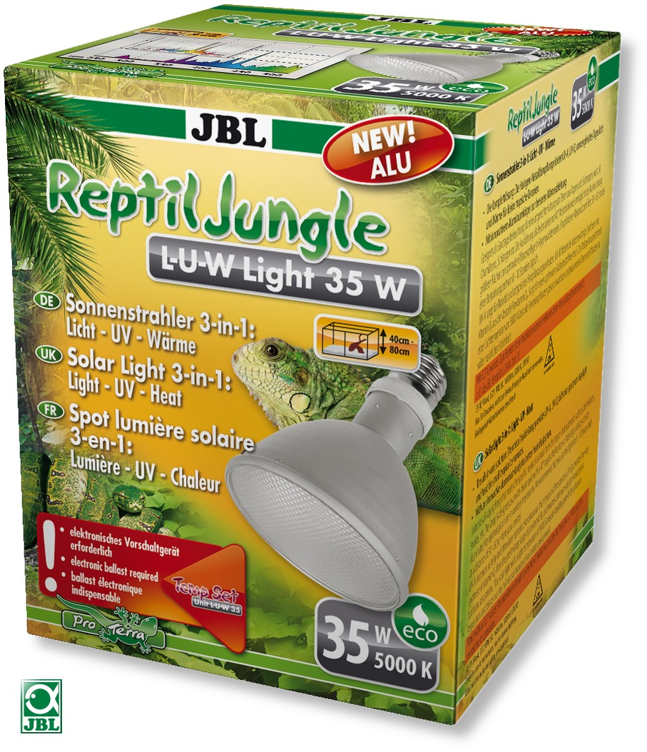 JBL ReptilJungle L-U-W Light alu 35W spot HQI en aluminium pour la reproduction du soleil en terrarium de type tropical