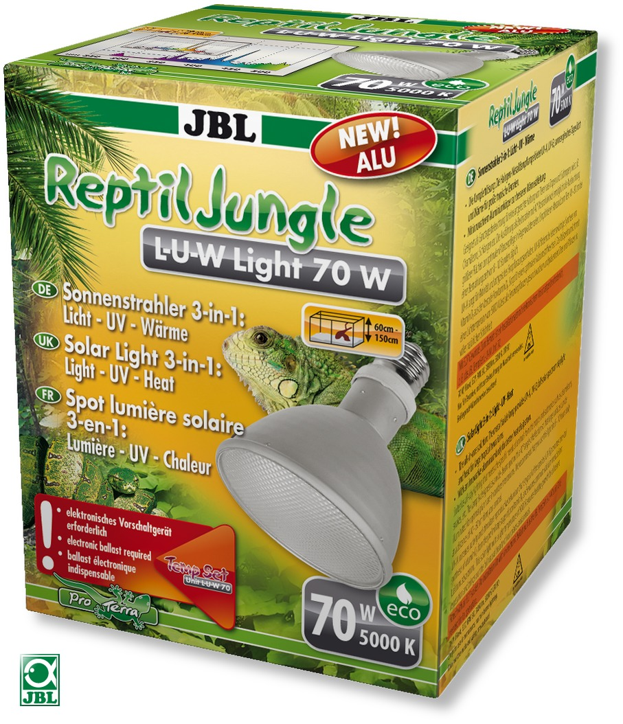 JBL ReptilJungle L-U-W Light alu 70W spot HQI en aluminium pour la reproduction du soleil en terrarium de type tropical
