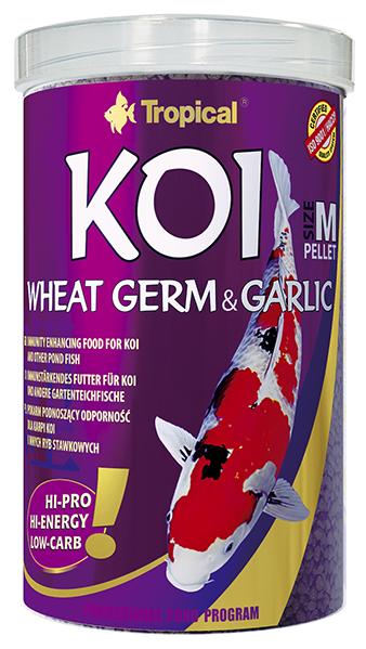 TROPICAL Koi Wheat Germ & Garlic Pellet M 1L nourriture avec Spirulina pour poisons de bassins de taille moyenne