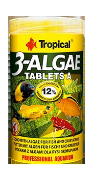 TROPICAL 3-Algae Tablets A 50 ml nourriture en tablettes riches en algues pour poissons herbivores et omnivores