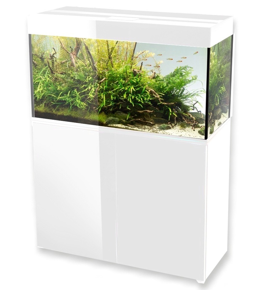 Aquael glossy 100 blanc laqu aquarium 100 cm volume 215 for Aquarium avec meuble