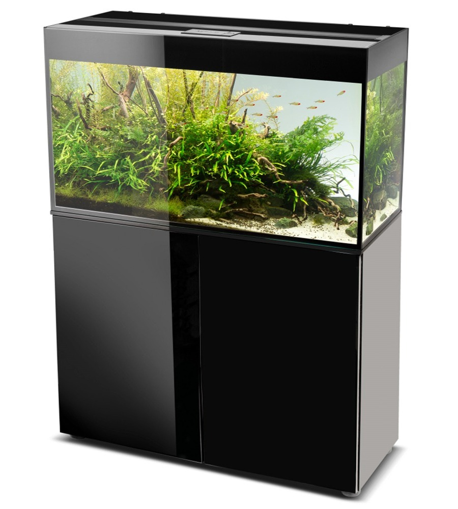 Aquael glossy 100 noir laqu aquarium 100 cm volume 215 l for Aquarium avec meuble