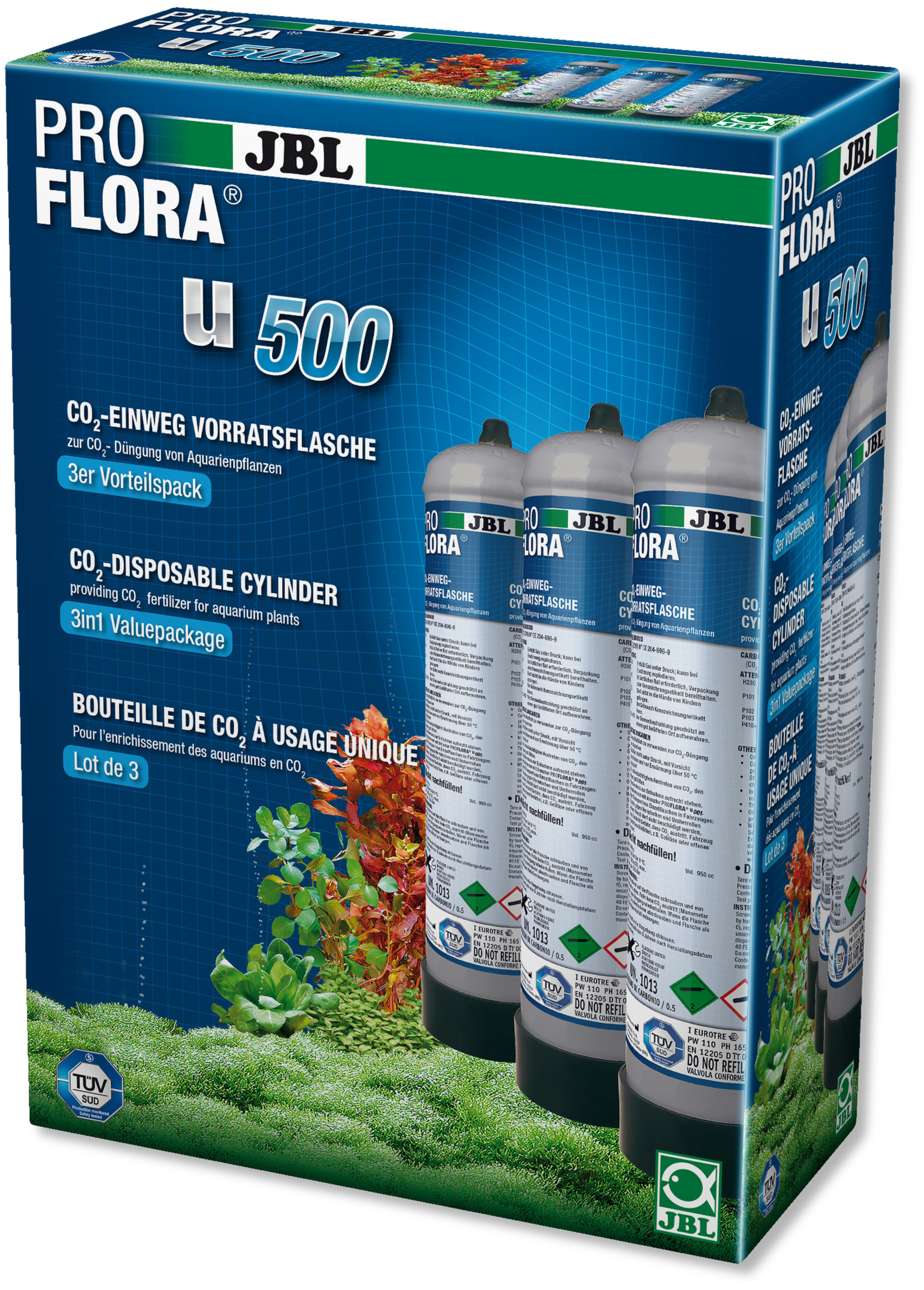 JBL ProFlora u500 lot de 3 bouteilles de CO2 de 500 gr. à usage unique