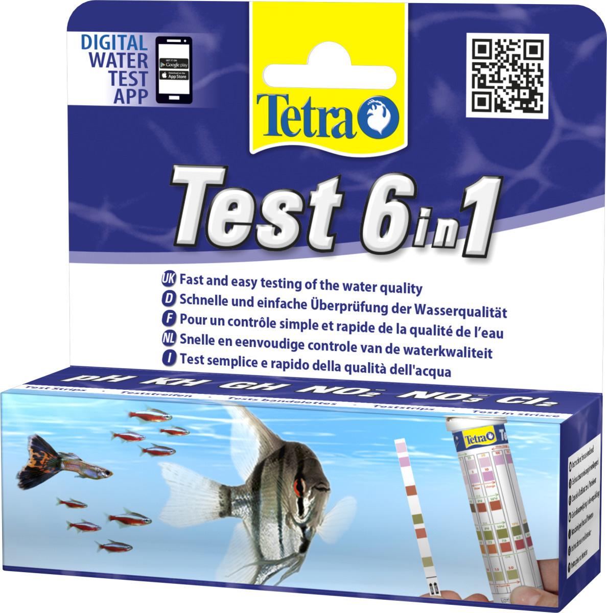 TETRA Test 6in1 lot 25 bandelettes de tests pour l\'analyse rapide des principaux paramètres de votre eau d\'aquarium