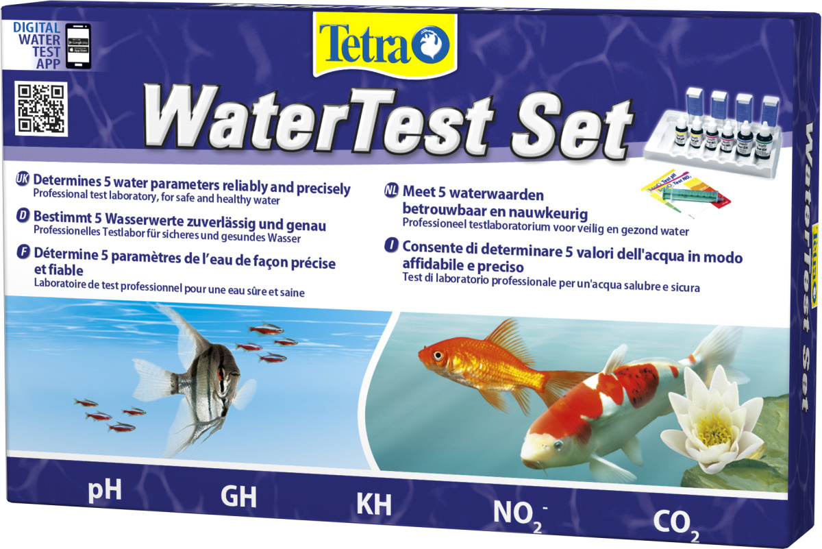 TETRA Water Test Set de tests pour l\'analyse de l\'eau en aquarium d\'eau douce et bassin. Lecture visuelle ou Smartphone