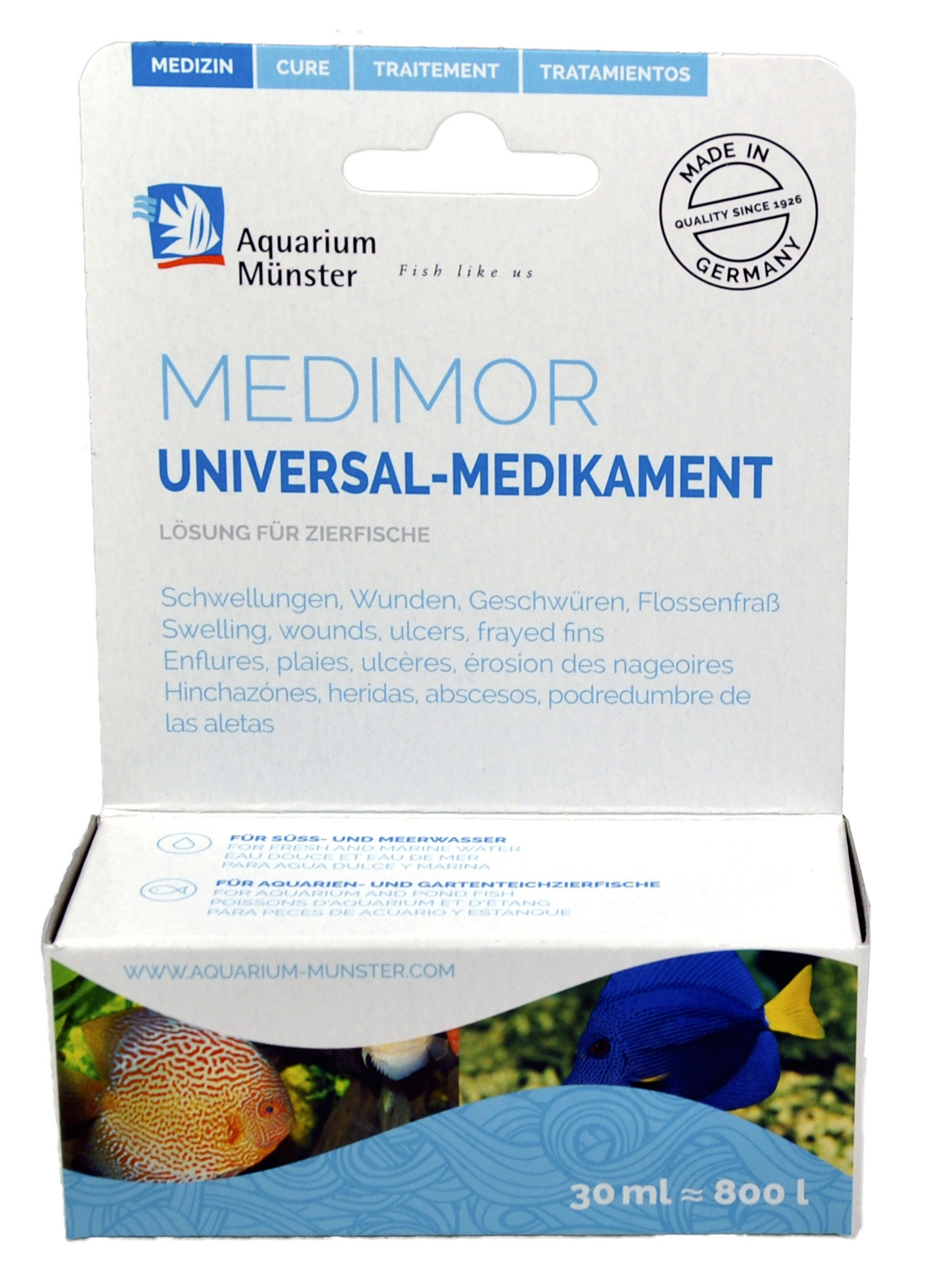 AQUARIUM MÜNSTER Medimor 30 ml traitement concentré universel contre tous les types d\'infection. Traite jusqu\'à 800L