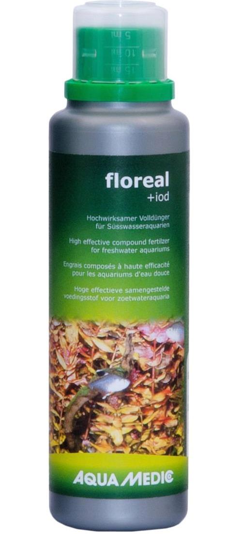AQUA MEDIC floreal + iod 250 ml engrais liquide à base de minéraux et de iode pour aquariums d\'eau douce
