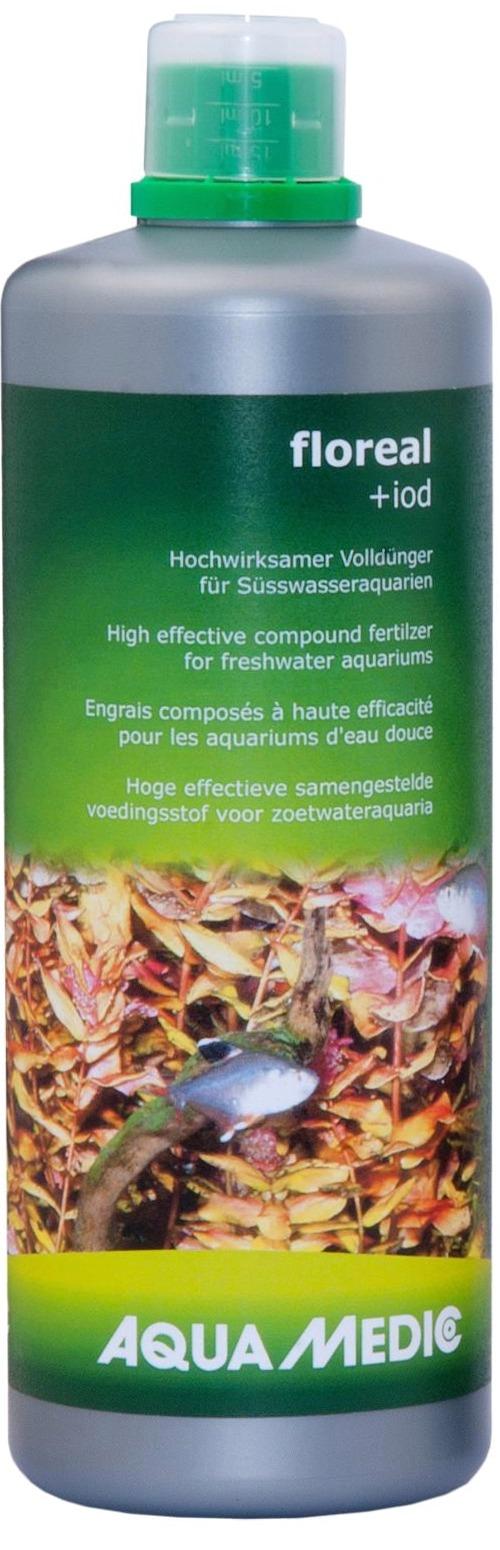 AQUA MEDIC floreal + iod 1 L engrais liquide à base de minéraux et de iode pour aquariums d\'eau douce