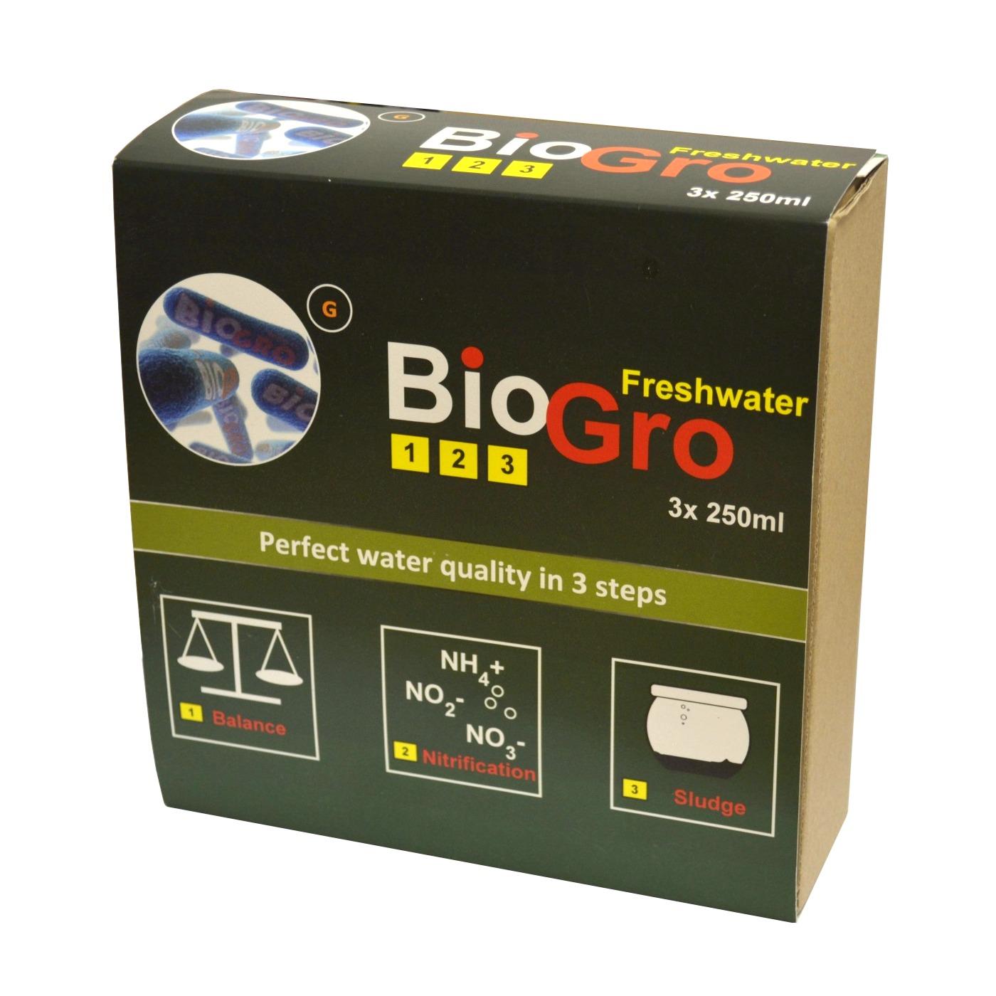 DVH IMPORT BioGro Freshwater 3 x 250 ml kit complet de réensemencement en bactéries pour aquarium d\'eau douce