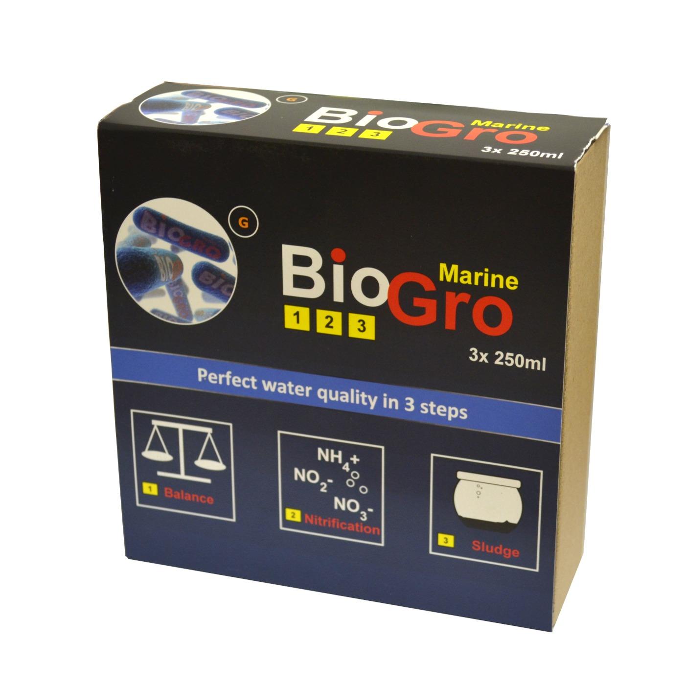 DVH IMPORT BioGro Marine 3 x 250 ml kit complet de réensemencement en bactéries pour aquarium d\'eau de mer