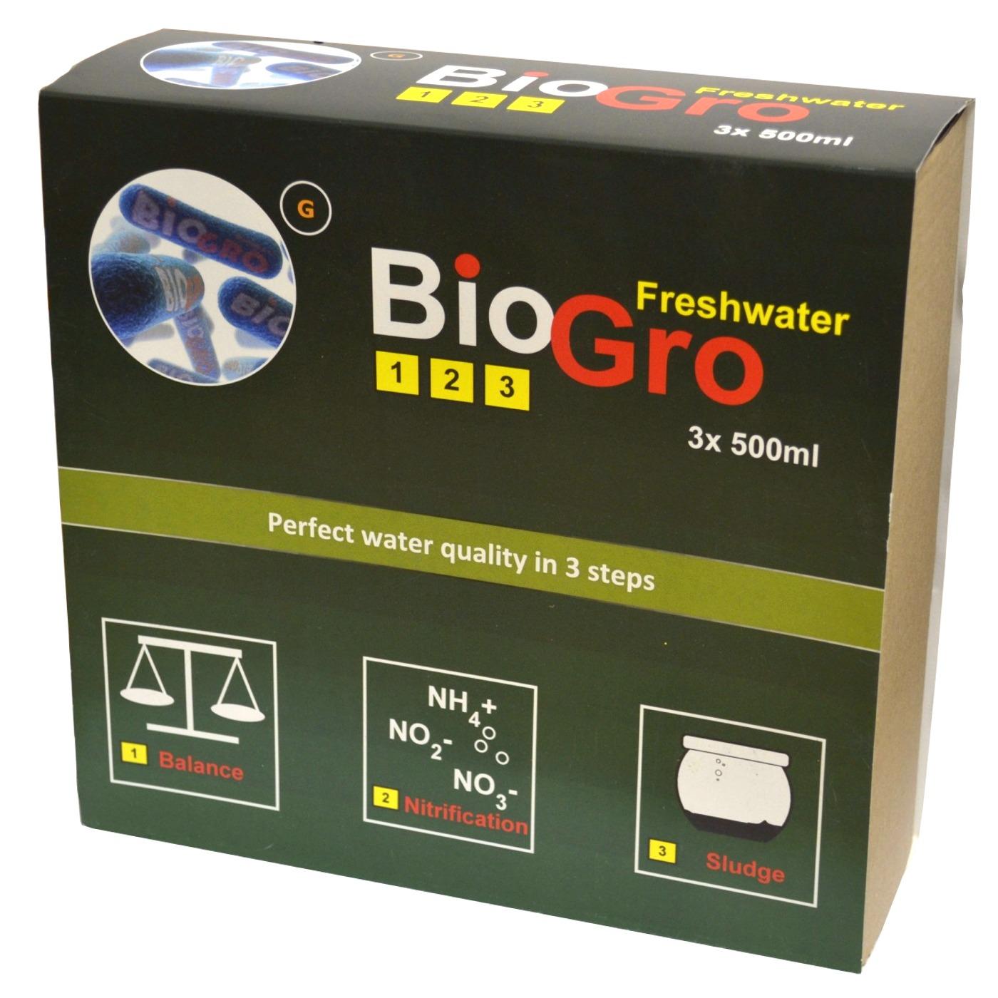 DVH IMPORT BioGro Freshwater 3 x 500 ml kit complet de réensemencement en bactéries pour aquarium d\'eau douce