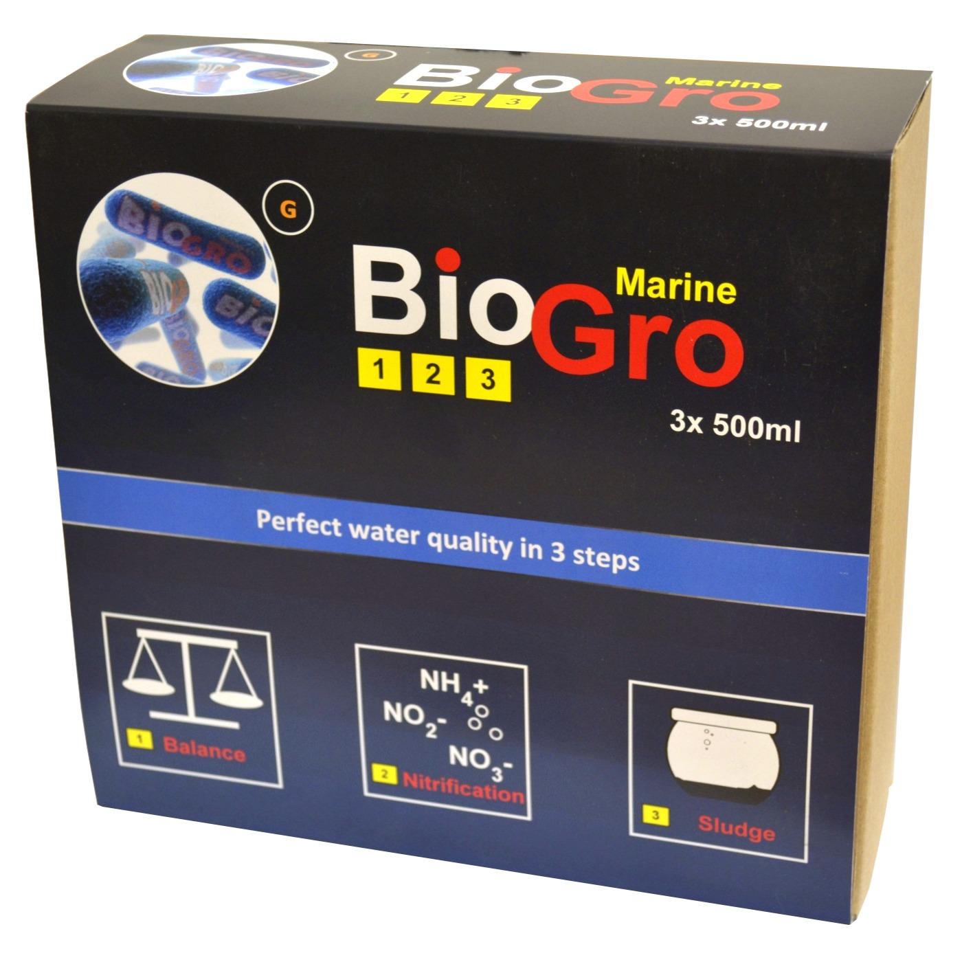DVH IMPORT BioGro Marine 3 x 500 ml kit complet de réensemencement en bactéries pour aquarium d\'eau de mer