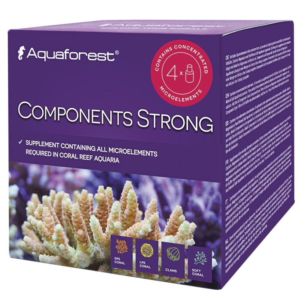 AQUAFOREST Components Strong 4 x 50 ml est un concentré d\'oligo-éléments pour aquarium récifal