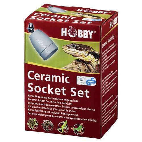 HOBBY Ceramic Socket Set ensemble complet douille céramique E27, support avec joint à rotule, câble 2 m et interrupteur pour ampoule jusqu\'à 300W
