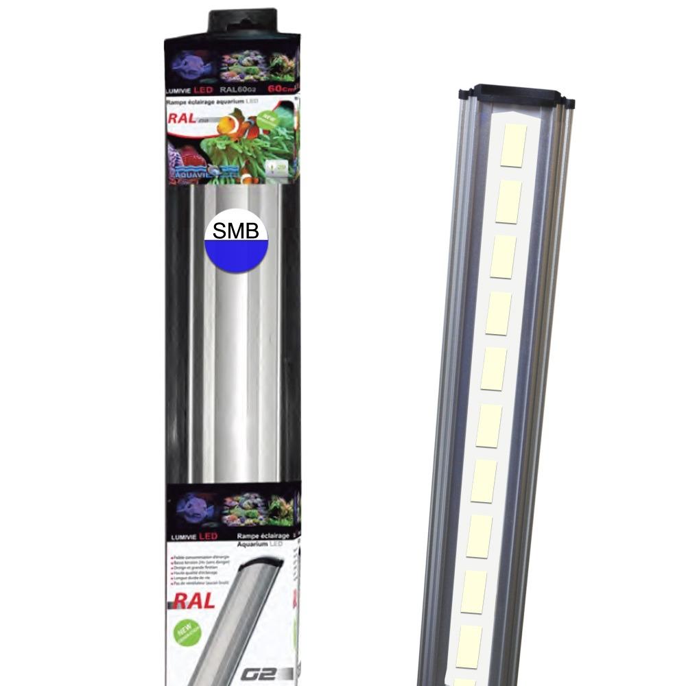 AQUAVIE Lumivie RAL G2 SBM rampes LEDs Blanches et Bleues 15000°K pour aquarium d\'eau de mer et cichlidés. 9 longueurs au choix.