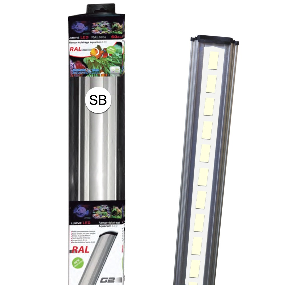 AQUAVIE Lumivie RAL G2 SB rampes LEDs Blanches 10000°K pour aquarium d\'eau douce et d\'eau de mer. 9 longueurs au choix.