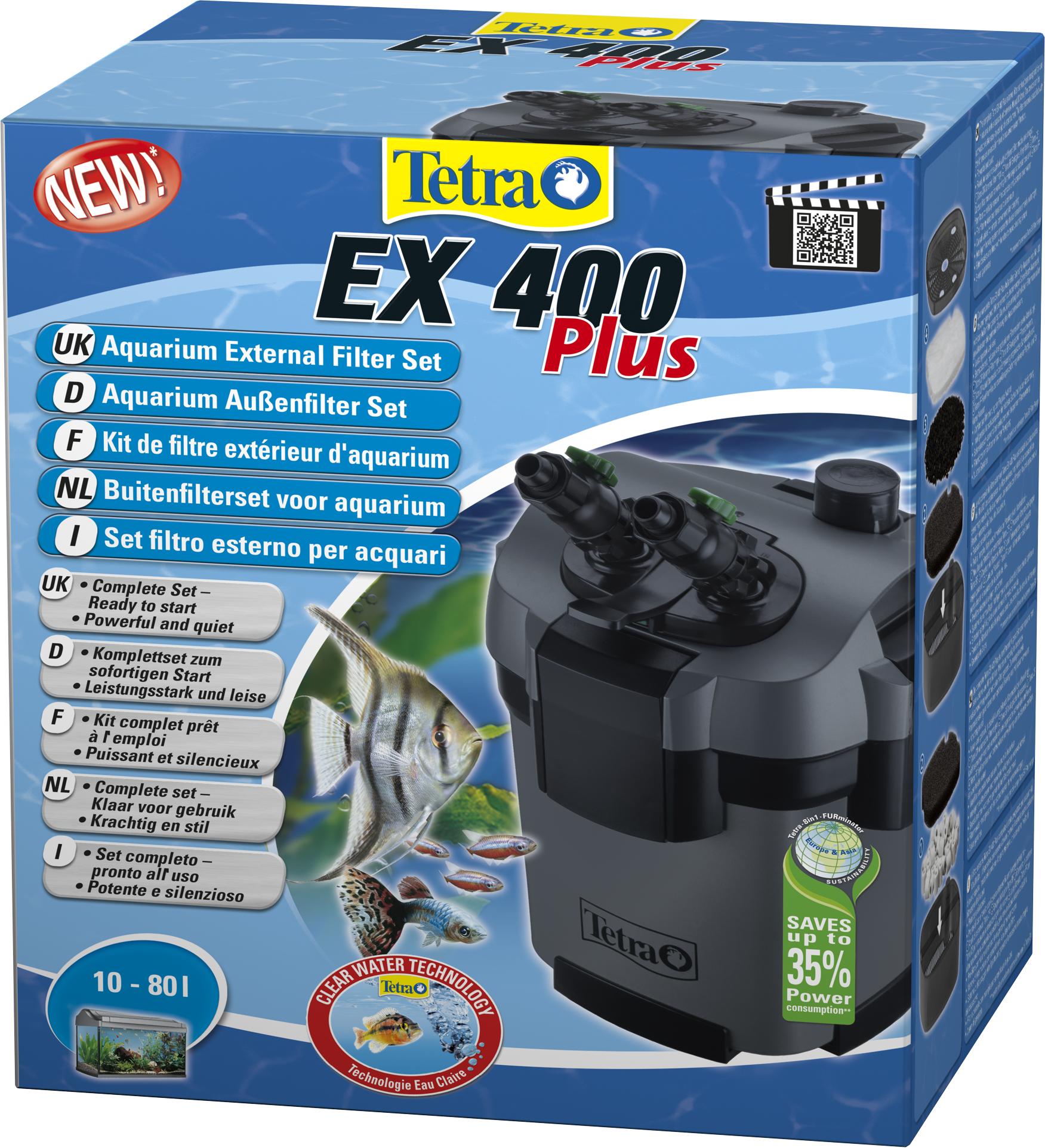 TETRA EX 400 Plus filtre externe 400 L/h performant et prêt à l\'emploi pour aquarium de 10 à 80 L