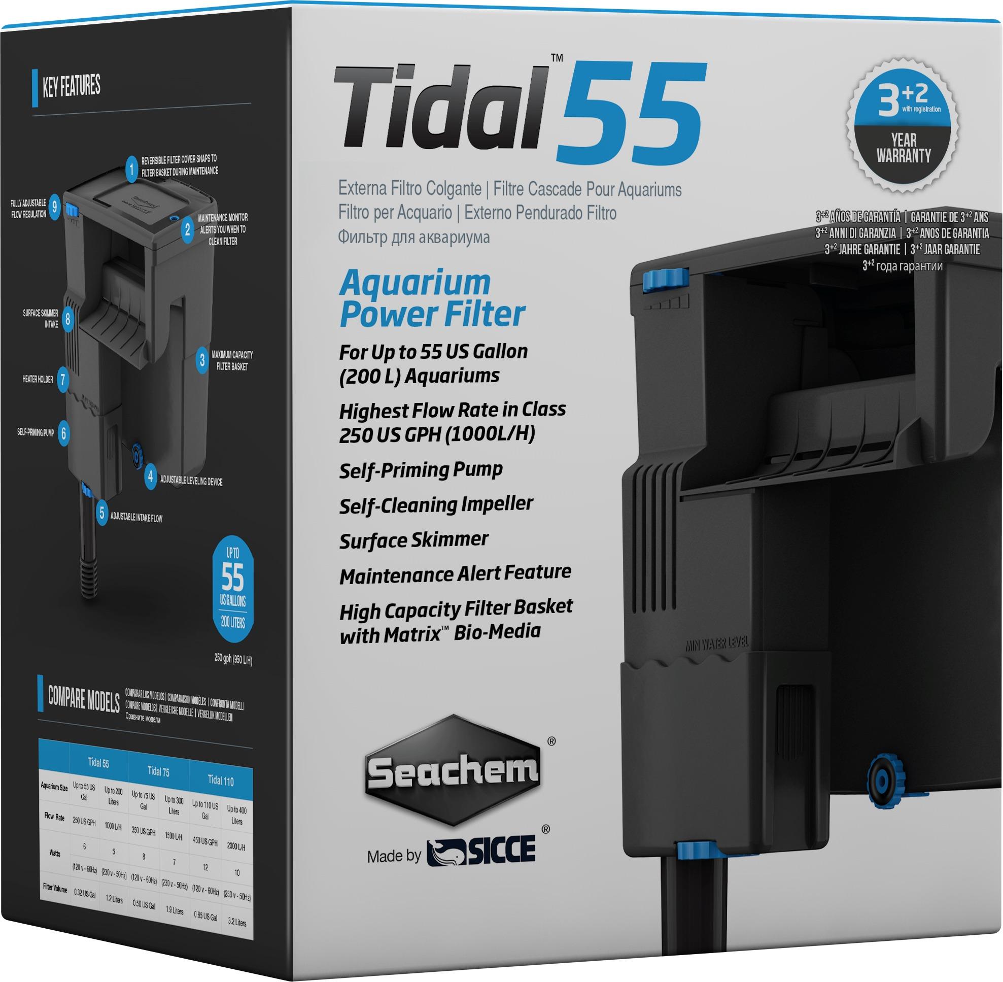 SEACHEM Tidal 55 filtre suspendu 1000 L/h pour aquarium jusqu\'à 200 L