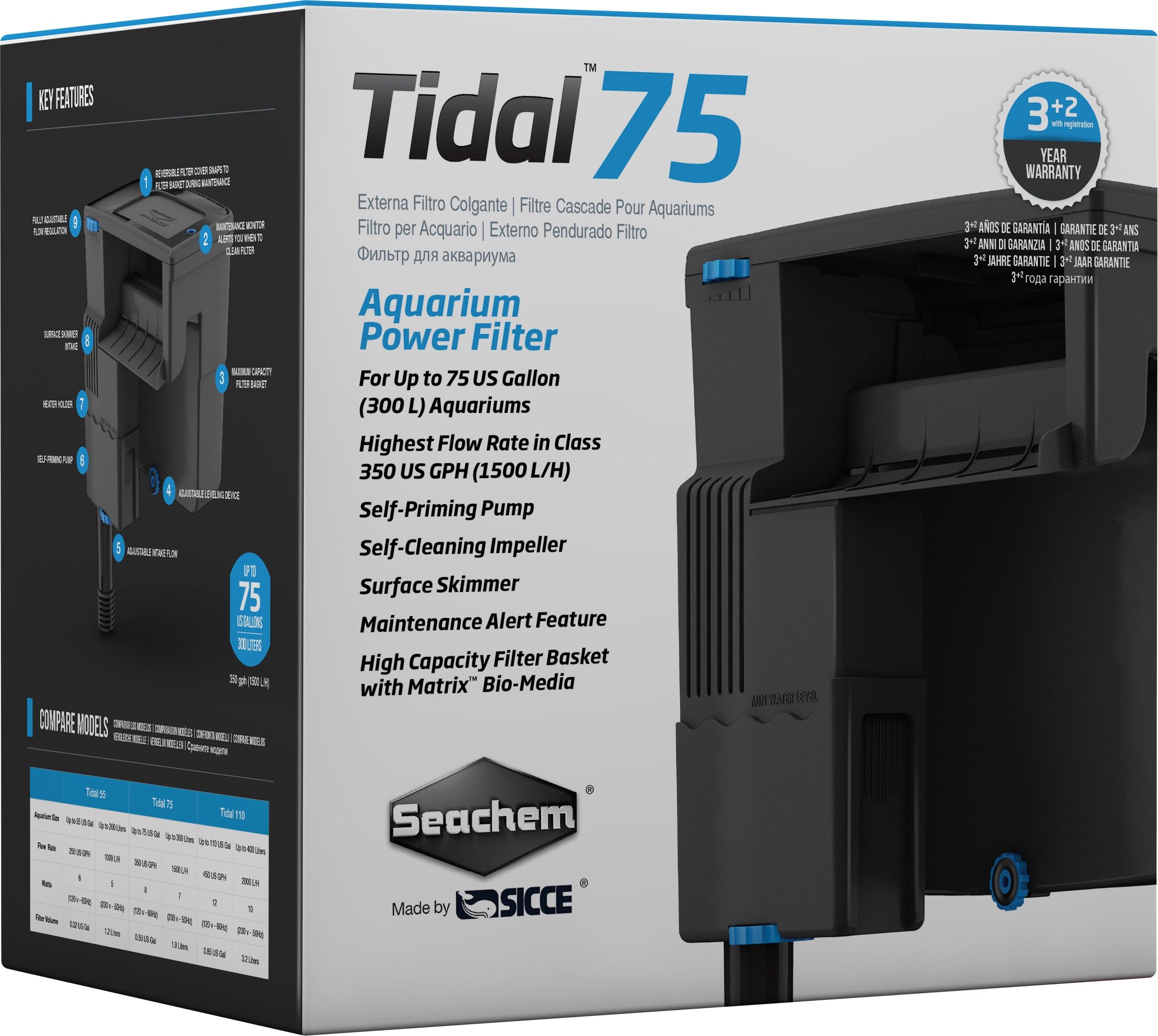 SEACHEM Tidal 75 filtre suspendu 1500 L/h pour aquarium jusqu\'à 300 L