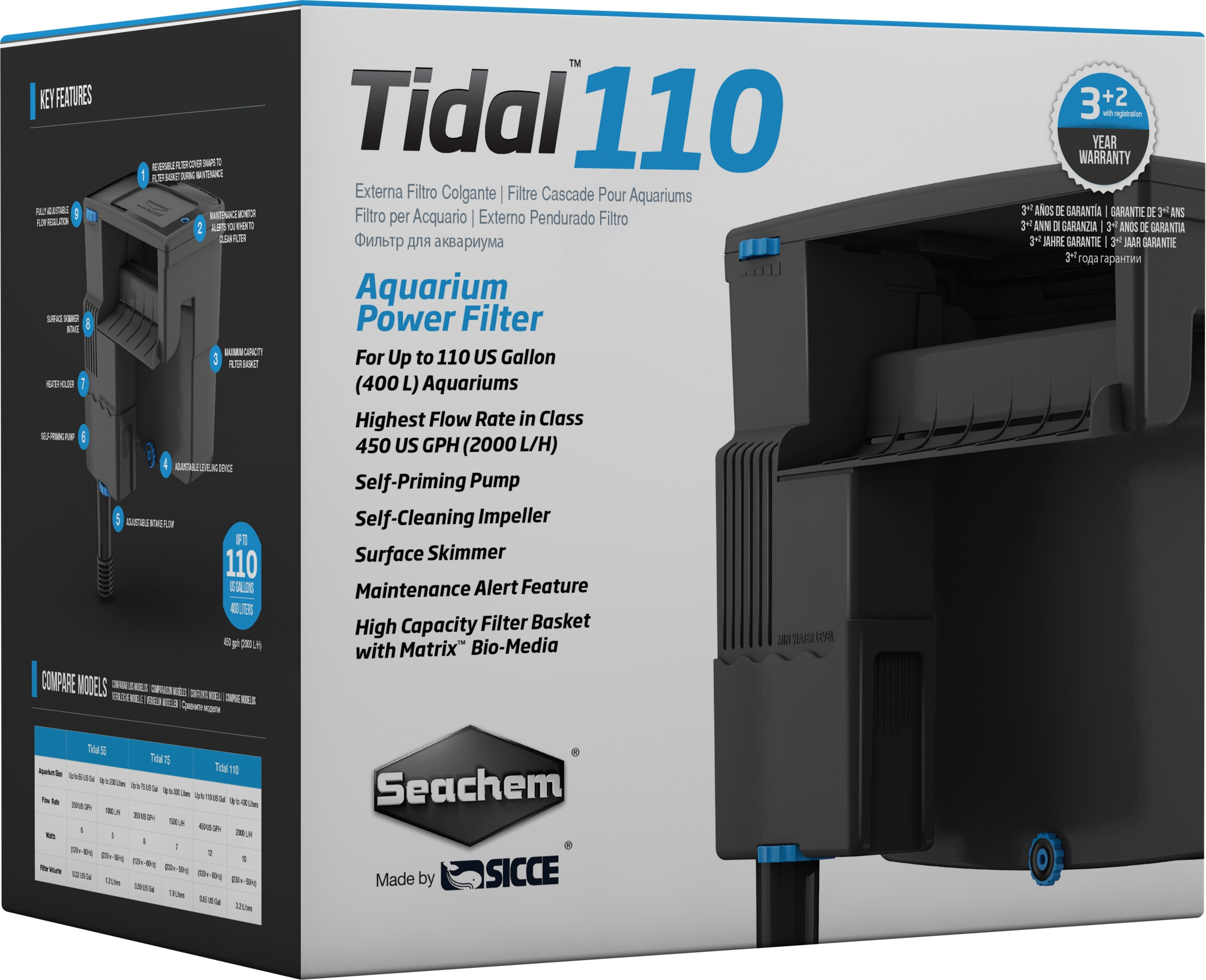 SEACHEM Tidal 110 filtre suspendu 2000 L/h pour aquarium jusqu\'à 400 L
