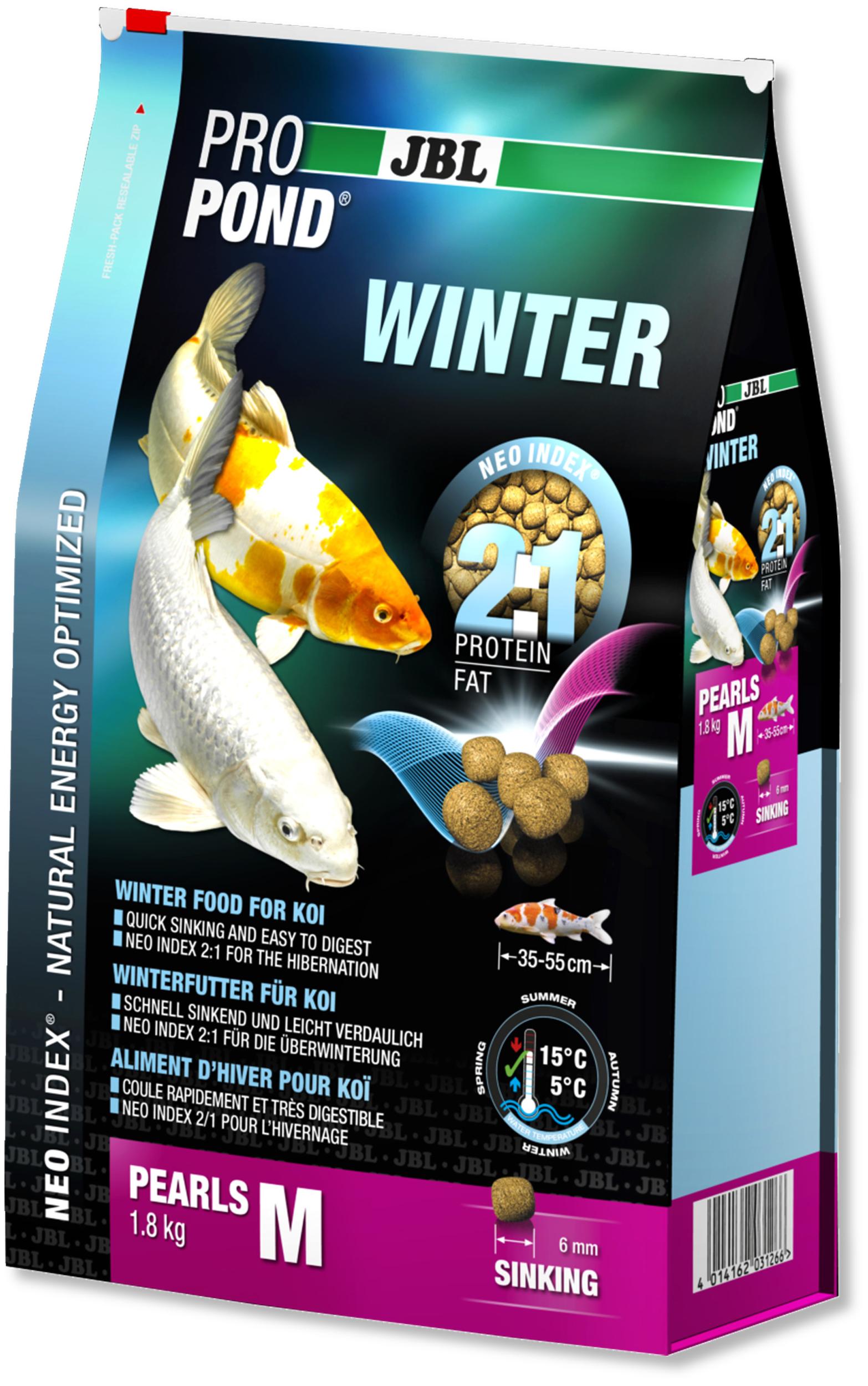 JBL ProPond Winter M 1,8 Kg nourriture granulés d\'hiver pour Koïs de 35 à 55 cm