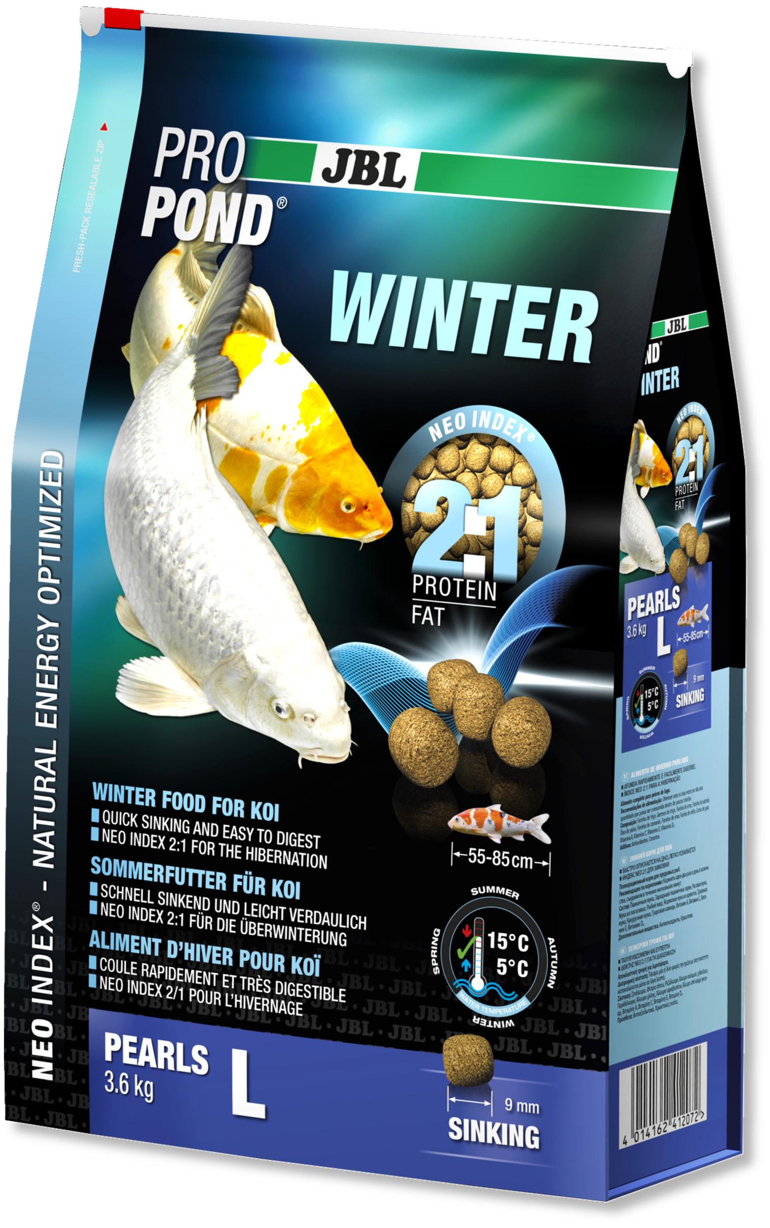 JBL ProPond Winter L 3,6 Kg nourriture granulés d\'hiver pour Koïs de 55 à 85 cm