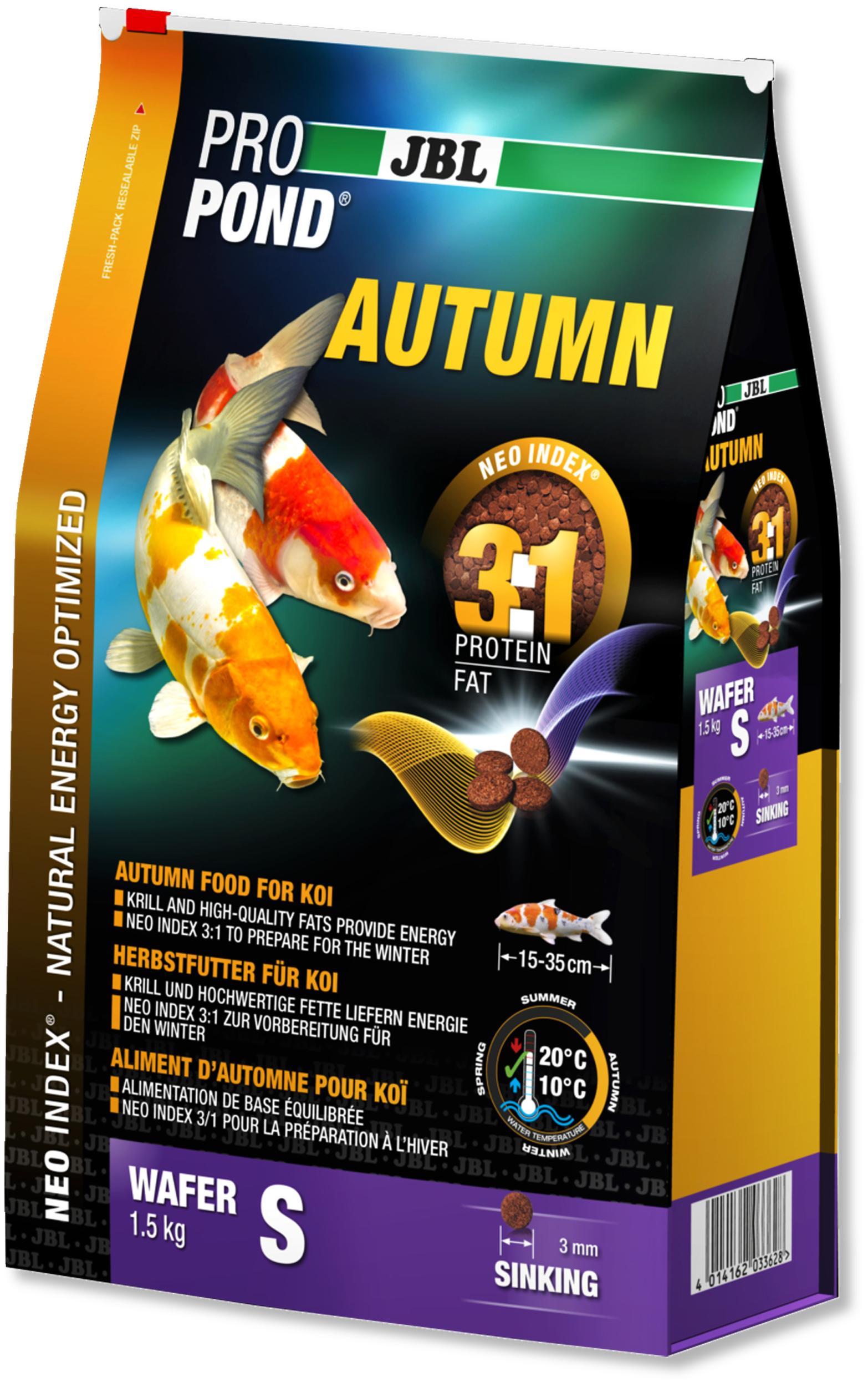 JBL ProPond Autumn S 1,5 Kg nourriture granulés d\'automne pour Koïs de 15 à 35 cm