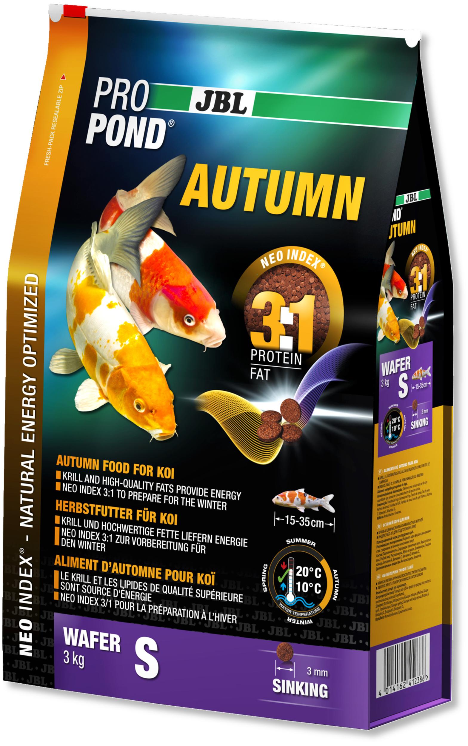 JBL ProPond Autumn S 3 Kg nourriture granulés d\'automne pour Koïs de 15 à 35 cm