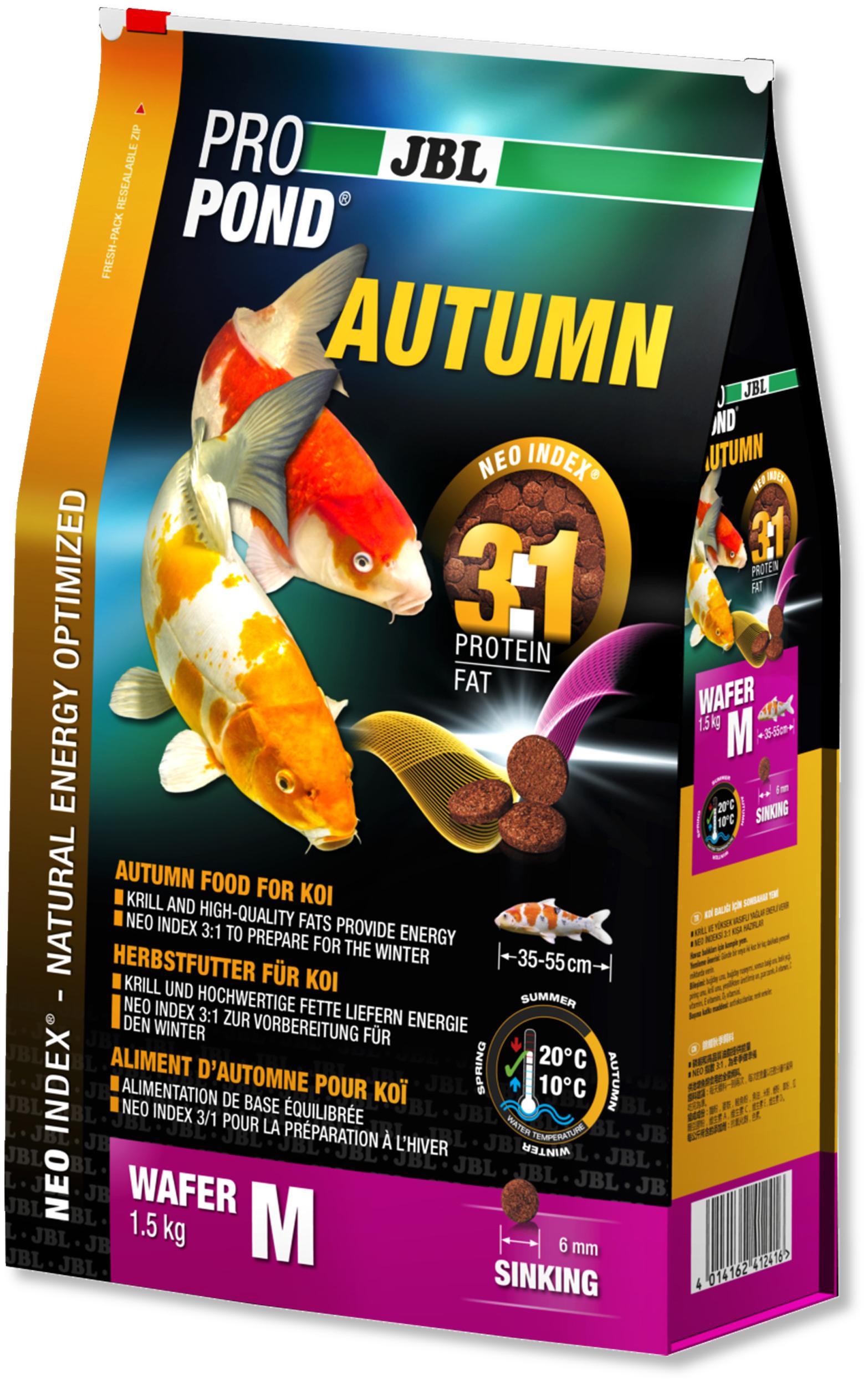 JBL ProPond Autumn M 1,5 Kg nourriture granulés d\'automne pour Koïs de 35 à 55 cm