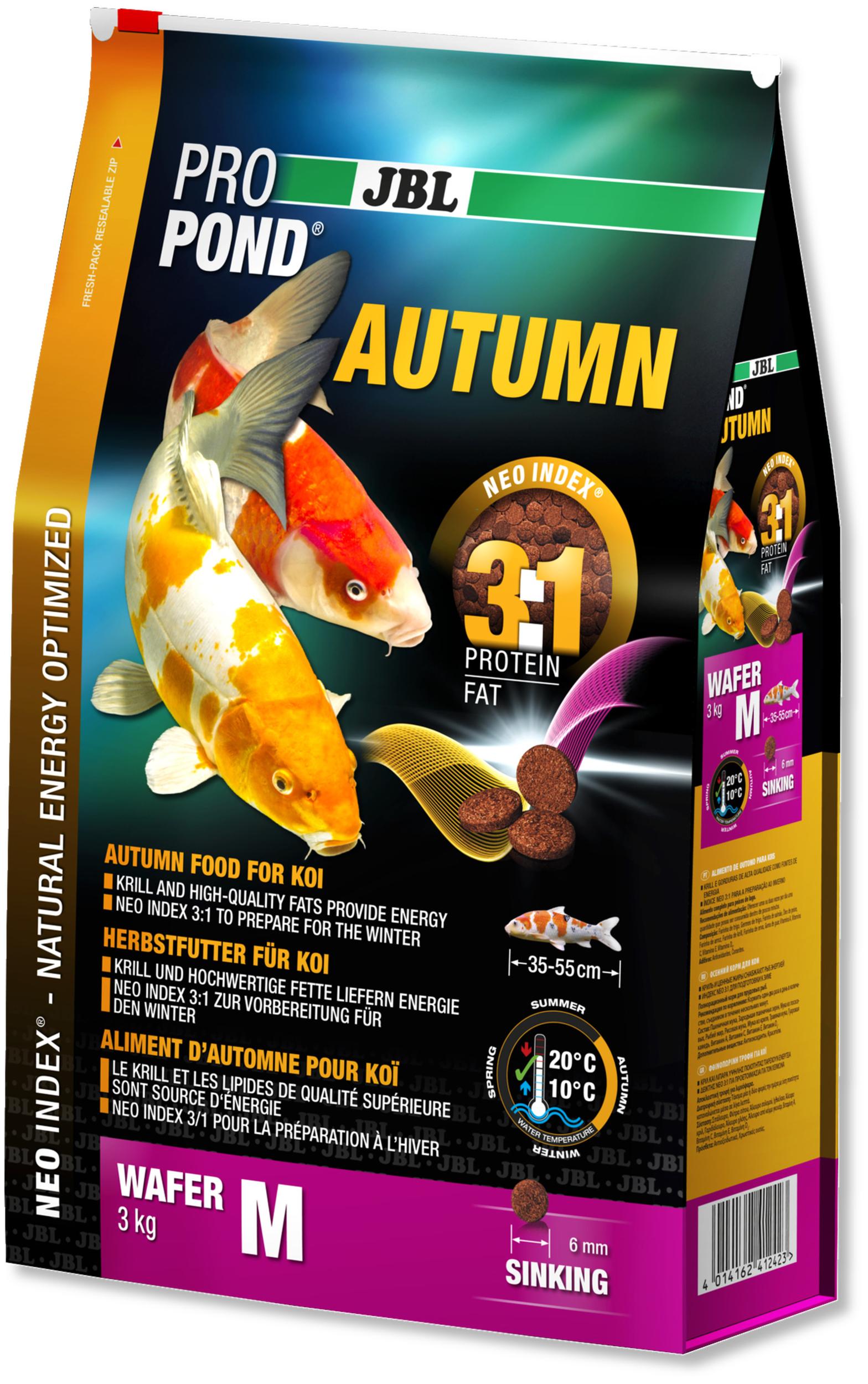 JBL ProPond Autumn M 3 Kg nourriture granulés d\'automne pour Koïs de 35 à 55 cm