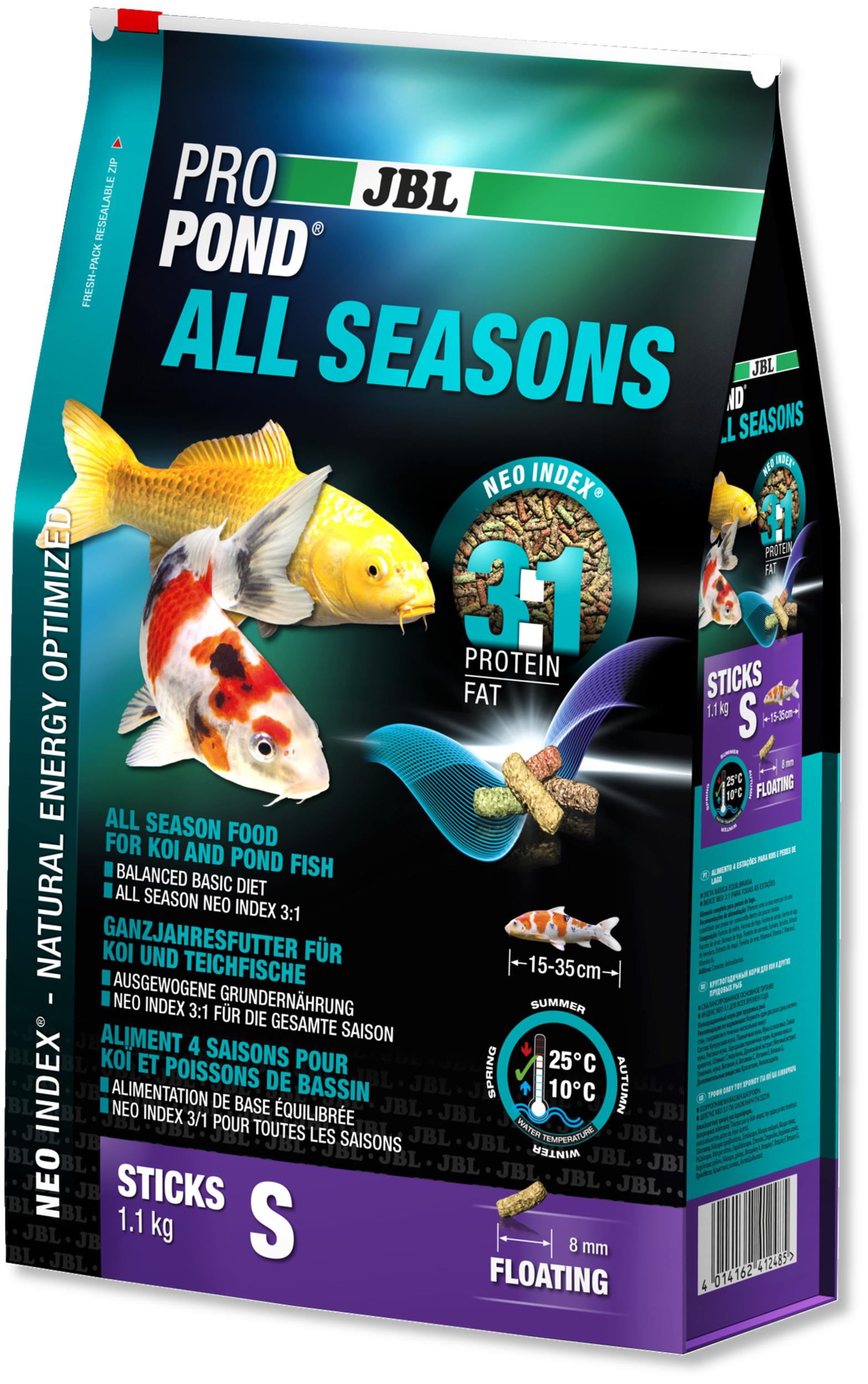 JBL ProPond All Seasons S 1,1 Kg nourriture bâtonnets toutes saisons pour Koïs et autres poissons de bassin de 15 à 35 cm