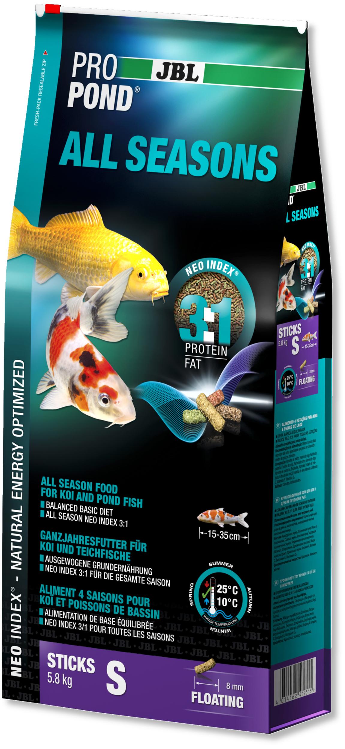JBL ProPond All Seasons S 5,8 Kg nourriture bâtonnets toutes saisons pour Koïs et autres poissons de bassin de 15 à 35 cm