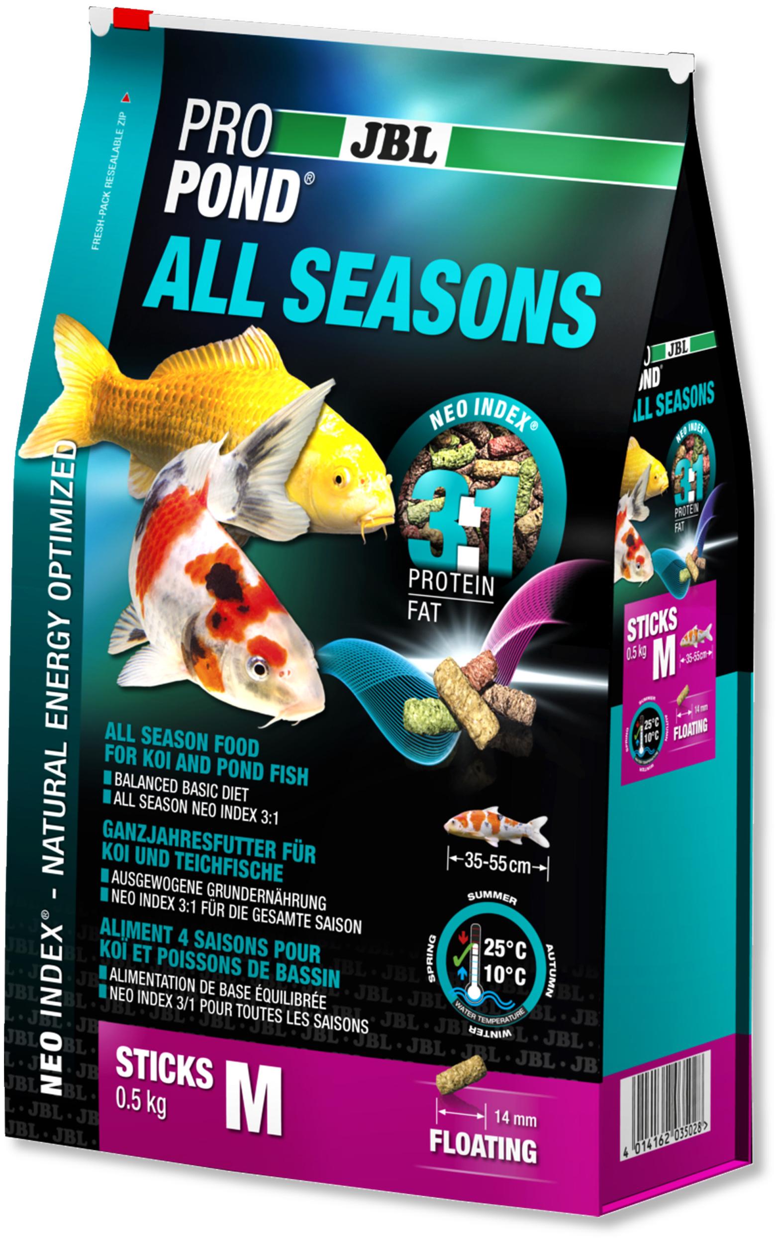 JBL ProPond All Seasons M 0,5 Kg nourriture bâtonnets toutes saisons pour Koïs et autres poissons de bassin de 35 à 55 cm