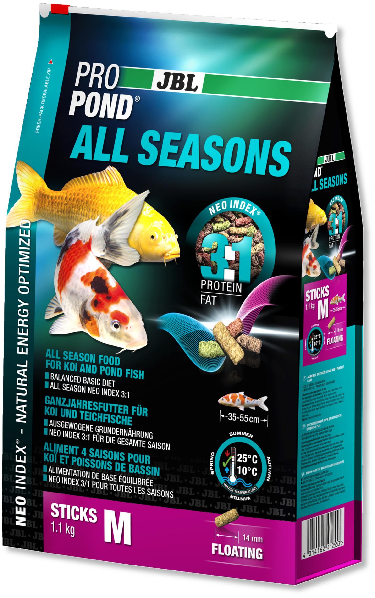 JBL ProPond All Seasons M 1,1 Kg nourriture bâtonnets toutes saisons pour Koïs et autres poissons de bassin de 35 à 55 cm