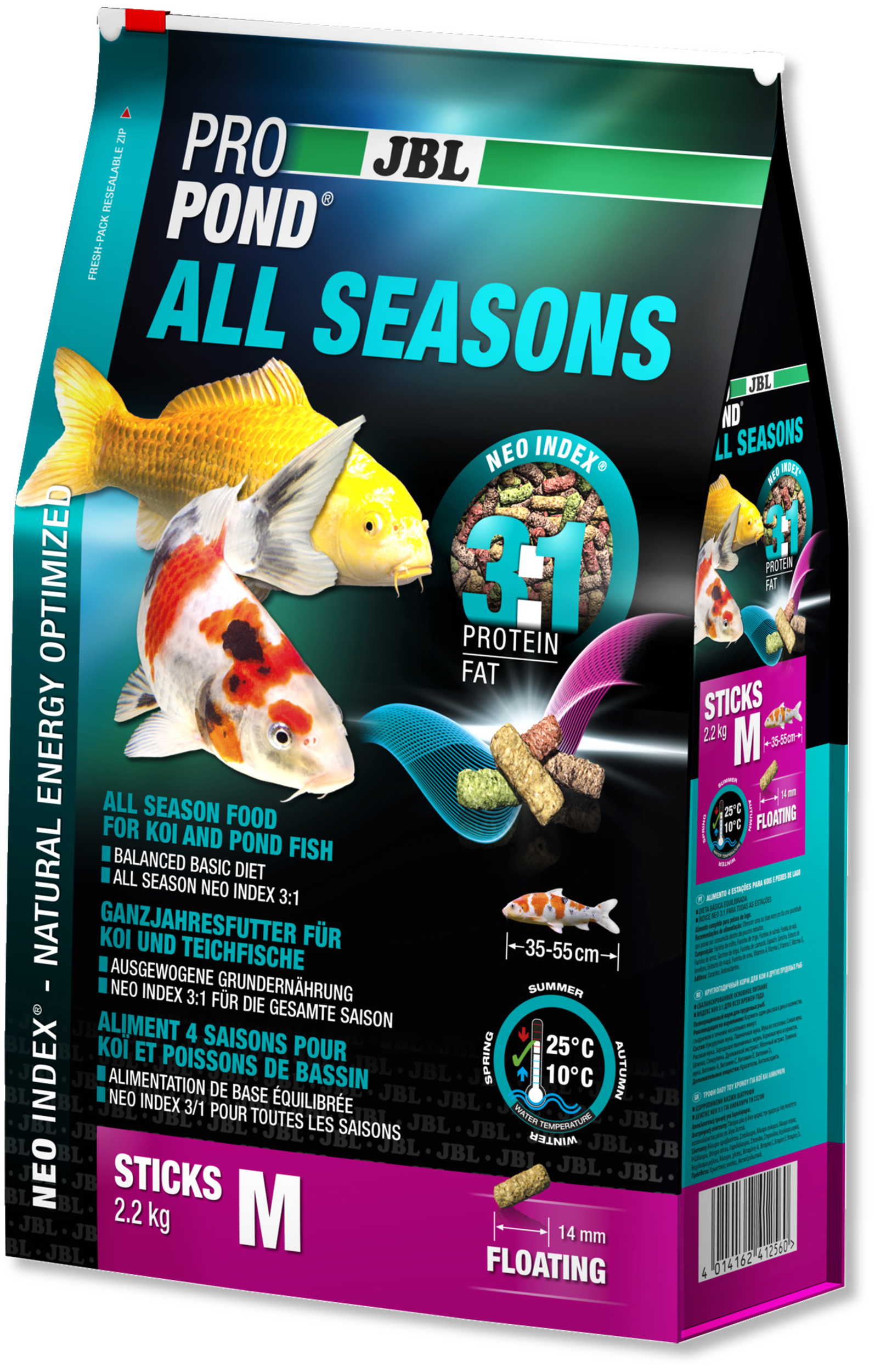 JBL ProPond All Seasons M 2,2 Kg nourriture bâtonnets toutes saisons pour Koïs et autres poissons de bassin de 35 à 55 cm